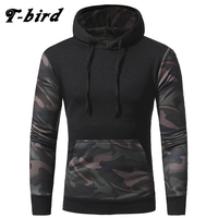 T Bird Camouflage Stitching Sweatshirt Men Pullover Hoodie 2017 Autumn Winter Slim Hooded Hoody Tops Mens