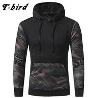 T Bird Camouflage Stitching Sweatshirt Men Pullover Hoodie 2017 Autumn Winter Slim Hooded Hoody Tops Mens