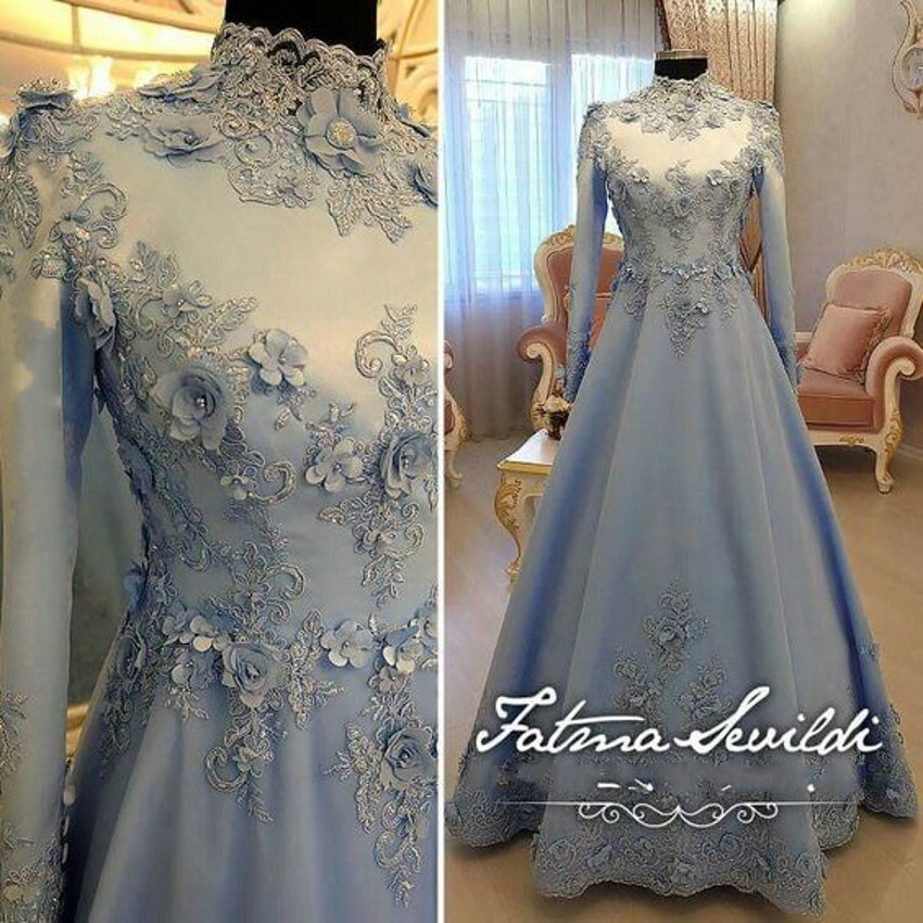 Modest Light Blue Muslim Evening Dress with Long Sleeves