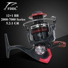 FDDL LK2000-7000 Serie Carretes de Pesca 12 + 1 BB Ball Bearing 5.2: 1 Relación de Engranajes Pre-carga Spinning Rueda de la pesca
