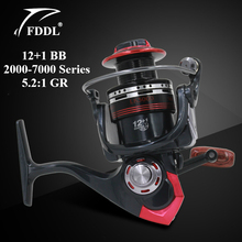 FDDL LK2000-7000 Series Fishing Reels 12+1 BB Ball Bearing 5.2:1 Gear Ratio Pre-Loading Spinning Fishing Wheel