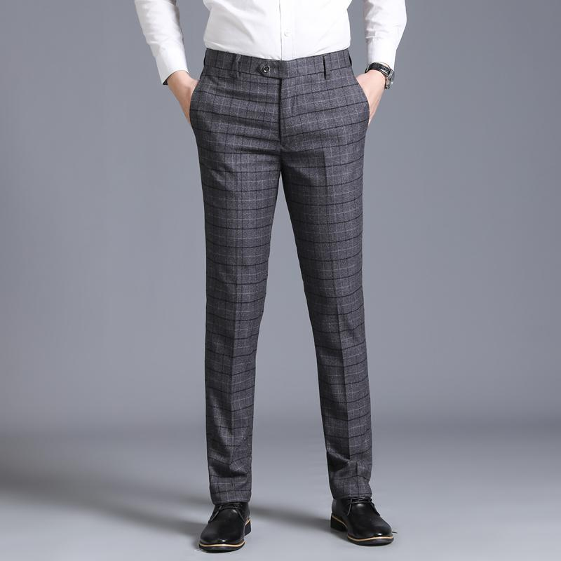 29-38 Zipper Fly Pocket Side Checked Suit Pants Men Fashion Casual Steetwear Business Casual Pants Formal Office Trousers