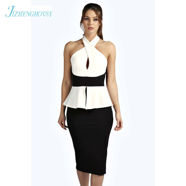 JIZHENGHOUSE Halter Sleeveless Women Peplum Office Dress Women White ...