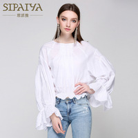 New Paiya Lady White Long Sleeved short embroidered shirt sleeves are casual and comfortable horn
