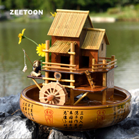 110 240V Bamboo House Waterwheel Water Cycle Fountain Office Desktop Bonsai Feng Shui Lucky Fish Tank Home Decor Birthday Gifts
