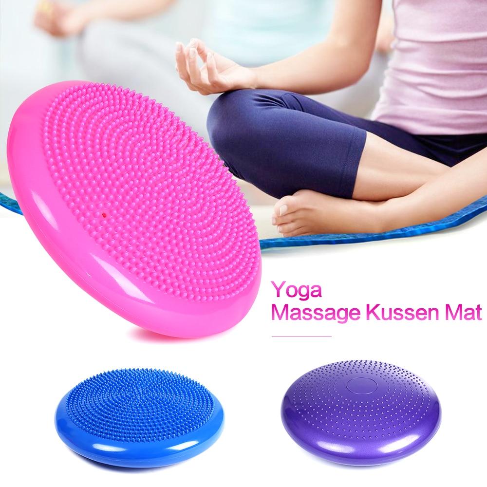 34cm Yoga Balls Pad Wheel Stability Balance Ball Massage Cushion For Gym Fitness Bola Olahraga Senam Kesehatan 33cm Inflatable Sports Wobble Disc Mat Exercise