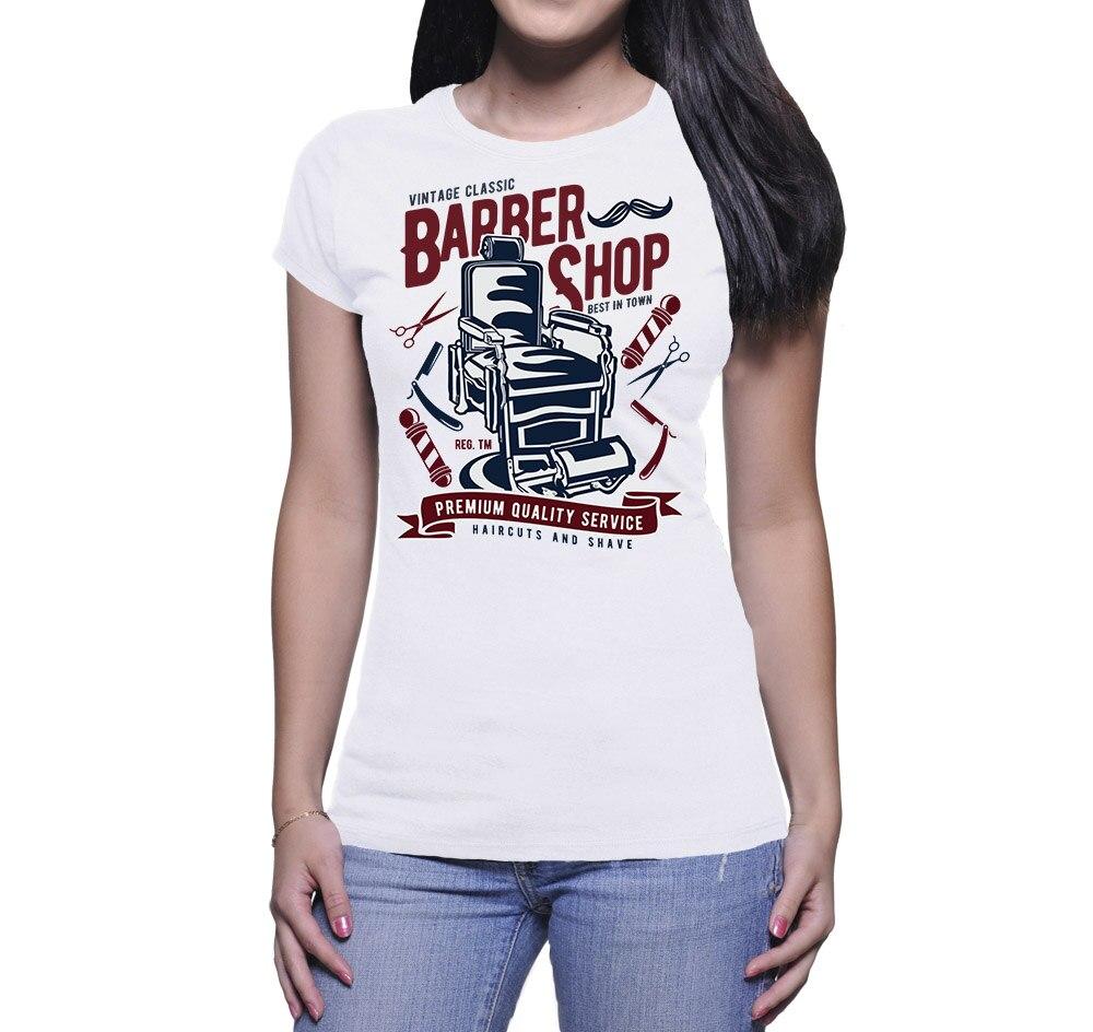 2019 Nieuwe Vrouwen Leuke Tee Shirt T-shirt Donna Vintage Barbershop Casual Katoenen T-shirt Exquise Vakmanschap;