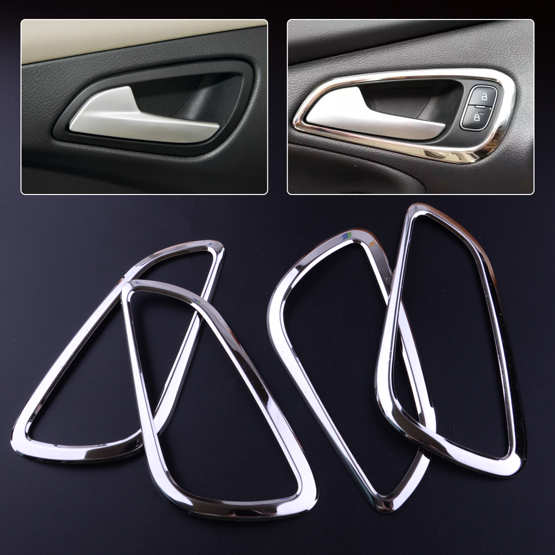 CITALL 4PCS Stainless Steel Interior Inner Car Door Handle Bowl Frame Cover Trim Decoration For Ford Focus Mk3 2012 2013 2014