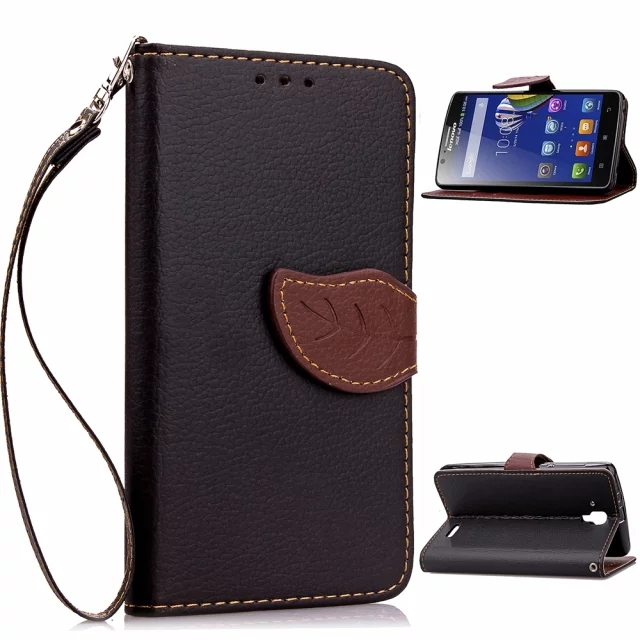 lanyard Flip Wallet Leaf leather Cover Case for Lenovo A536 A2010 A5000 A6000 K3 Note A7000 A7010 S850 S90 P70 P780 Vibe X3 P1