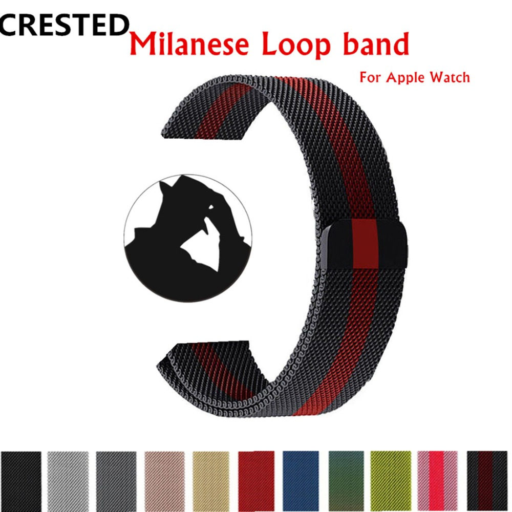 CRESTED Bands For Apple Watch band 38mm 42mm Milanese Loop iwatch series 3 Stainless Steel wrist watchband Link Bracelet belt milanese loop watch band strap for apple watch 38mm 42mm bracelet belt stainless steel mesh watchband for iwatch series 1 2