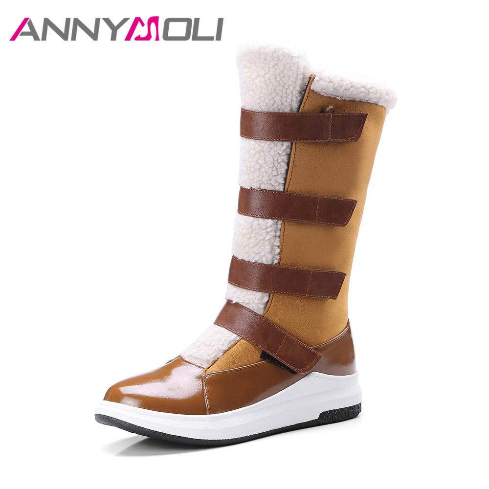 ANNYMOLI Women Snow Boots Winter Mid-calf Boots Warm Platform Wedges Boots Fur Low Heel Shoes Big Size 42 43 Shoes Black Brown hot genuine leather women artificial rabbit fur snow boots high platform ladies wedges heels mid calf boots suede rivets shoes