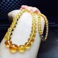 Натуральная кристалл натуральный желтый Цвет драгоценного камня круглый ясно Бусины Jewelry Для женщин женские стильные высокие Цепочки и оже