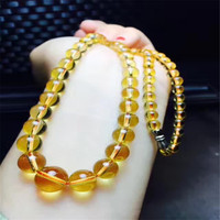 Genuine Natural Crystal Yellow Color Gem Stone Round Clear Beads Jewelry Women Lady Fashion Long Necklace 5 14mm