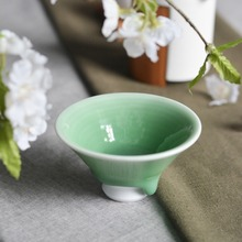 Handmade Traditional Chinese Japanese Style Green Round Ceramic Kungfu Tea Cup With Saucer Handpainted Porcelain Tray Gift Box