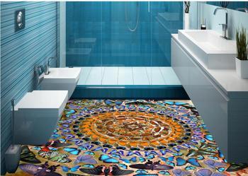 Custom any size 3D Flooring Modern romantic butterfly PVC Waterproof Floor Wallpaper Self-adhesive Wallpapers for Lving room