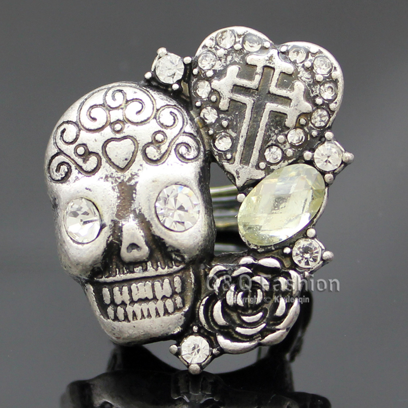 Vintage Silver Coptic Cross Heart Skull Head Flower Crystal Band Finger Ring Jewelry 2017 New