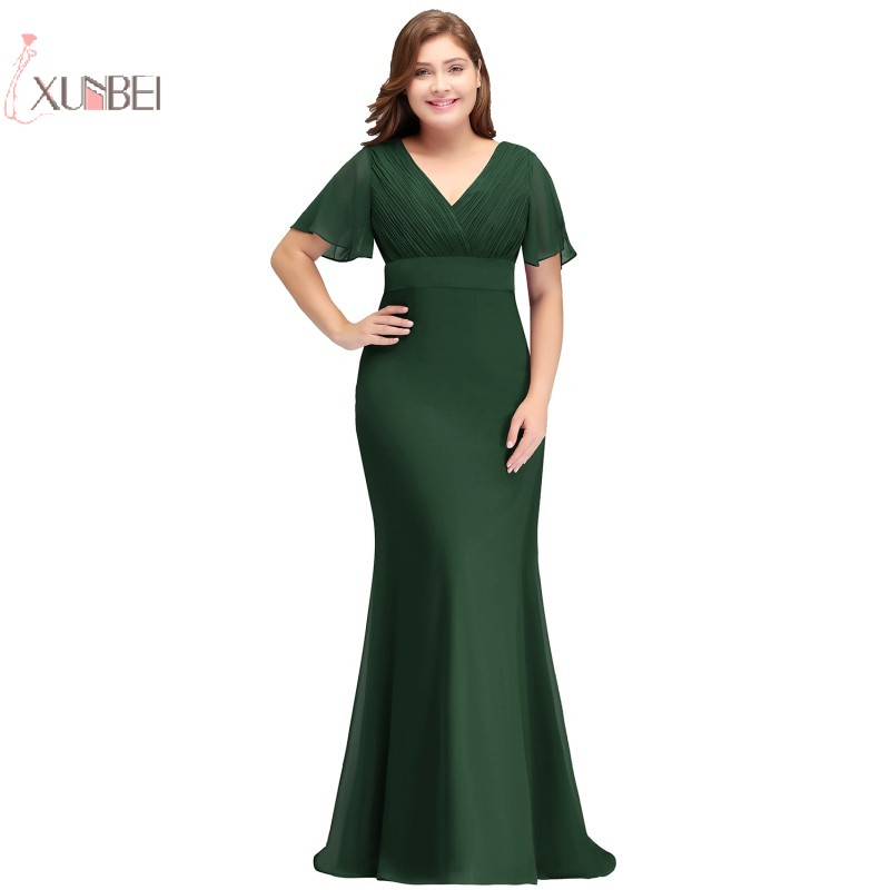 2019 Burgundy Chiffon Mermaid Long   Bridesmaid     Dresses   Plus Size Sleeve Wedding Party Gown