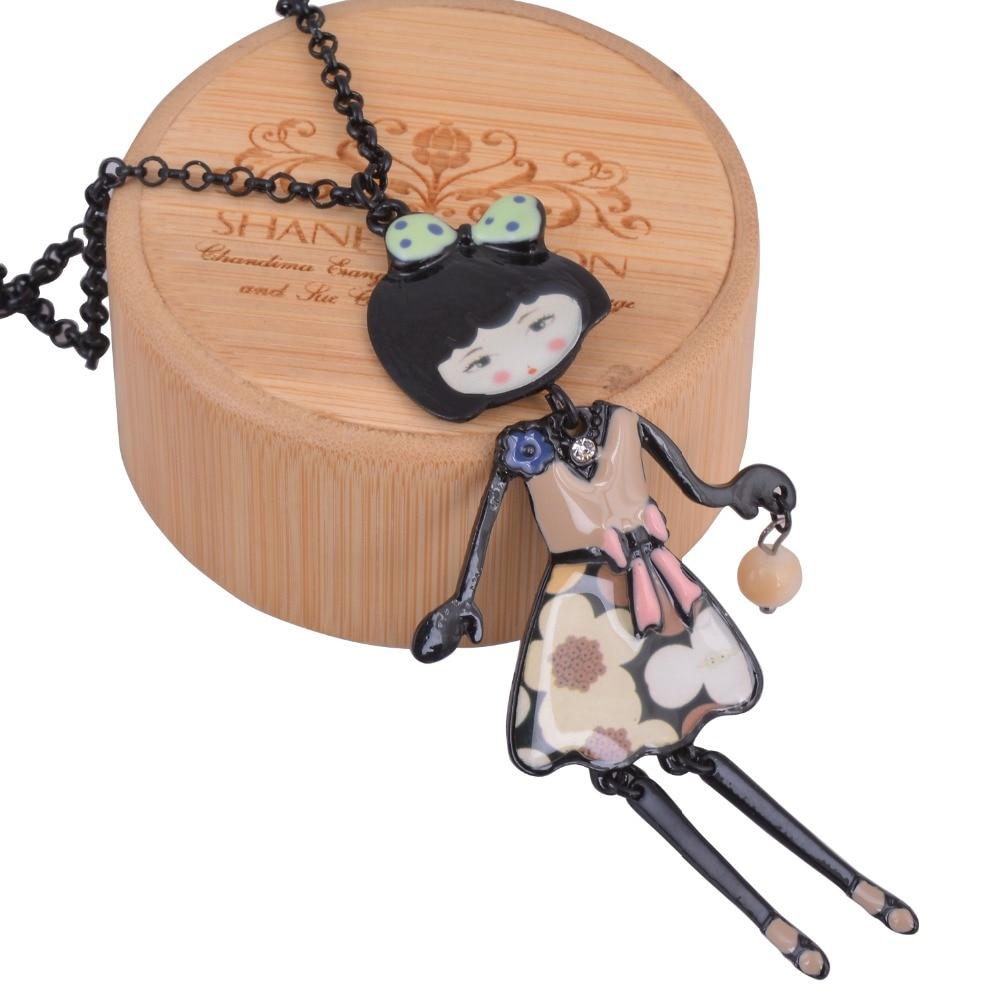 Black Gun Color Girl Doll Necklace Long Chain Pendant Enamels