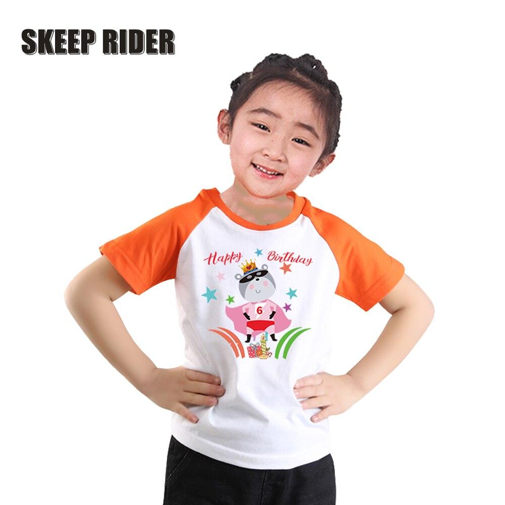 Girl Birthday Tshirt Short Sleeves Kids Superhero Shirts Orange Cartoon Black Shirt Toddler Super Soft Raglan