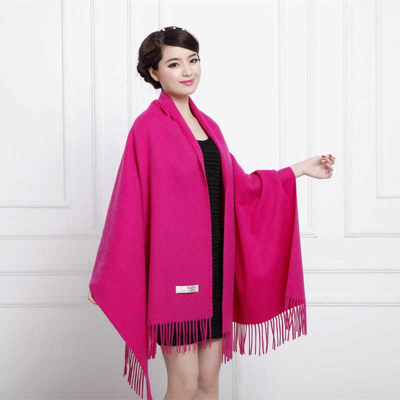 Spring New Female Shawl 100%Wool Autumn   Scarf   Cashmere   Scarves     Wrap   Tassels Soft Pashmina Solid Oversized Mujer Soft Bufanda