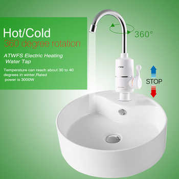 ATWFS Tankless Electric Newest Water Heater Kitchen Instant Hot Water Tap Heater Water Faucet Instantaneous Heater3000w