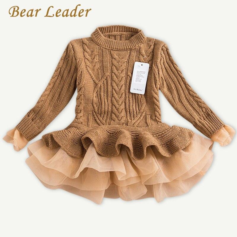 Детское платье для девочки с рисунком медведя 2018 Зимний пуловер вязаные свитера бальное платье верхняя одежда с круглым вырезом и длинными ...