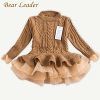 Líder urso Meninas Vestido 2017 de Inverno Pullover Blusas de Malha vestido de Baile Vestido Outerwears Manga Longa O-pescoço Malhas Crianças 3-7Y