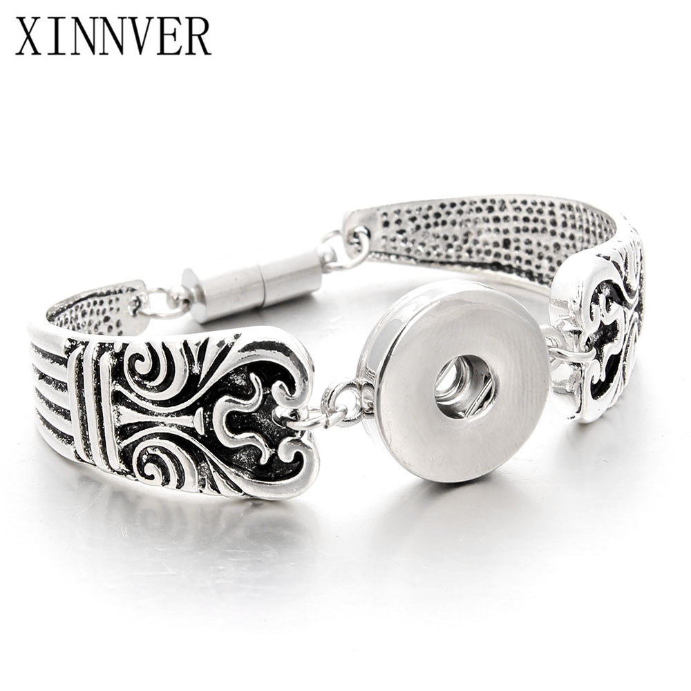 Bracelet Jewelry Snap Pulsera Fit 18-20mm Ginger Snap Button Carve Flower Magnetic Tube Bar Clasp Antique Silver Tone ZJ1546