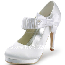 EP11119-PF Women White Red Closed Toe Bow Platform High Heel Bride Bridesmaids Satin Pumps Lady Wedding Bridal Shoes Ivory