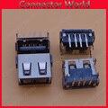 10-1000 шт./лот USB 2 0 4Pin A Тип гнездовой разъем черный Задний 90 градусов контактный кабель для передачи данных Зарядка