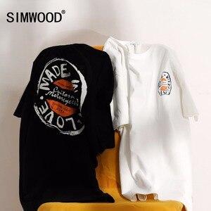 Image 2 - SIMWOOD T Shirt erkek 2020 ekip boyun yaz yeni grafik baskı moda Slim Fit TShirt yüksek kalite artı boyutu rahat tops 180044