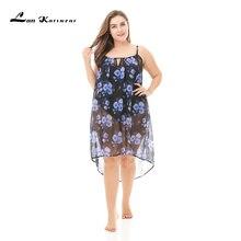 Lan Karswear Beach Cover Up Bikini Crochet Summer Swimsuit Sexy See-through Dress Plus Size printing