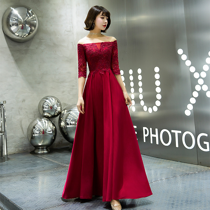 Burgundy Long   Prom     Dresses   2019 Off The Shoulder Half Sleeve A-line Floor-Length Chiffon Lace Evening   Dresses   Women Formal Gowns