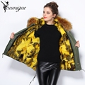 YOUMIGUE New Winter Top Fashion Brand Women Coat Jacket Warm Woman Raccoon fur collar Parka with Real Rabbit Fur Lining Outwear