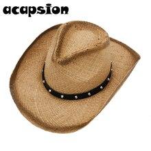 Cowboy Cowgirl Hat Men Women Western Rivet Straw Sun Visors Cap Hats For Gorro Hombre Chapeau Homme A057