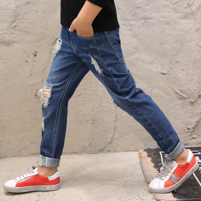 4 5 6 7 8 9 10 11 12 13 14 15 Years Ripped Jeans For Boys Teenagers Trousers 2018 Children Long Denim Pants Kids Teens Clothing ripped cuffed jeans