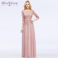 Elegant Long Pink Navy blue Bridesmaid Dresses Chiffon 2018 A Line 3/4 Sleeve Vestido da dama de honra Robe De Soiree Prom Dress