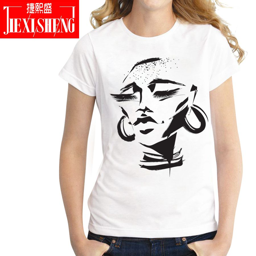 Creative Design Sketch Print Women T Shirt Casual Funny Short Sleeve O-neck T-shirts Plus Size Lady Tops Tees Camiseta Mujer