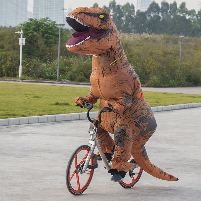 Kids Adult T REX Inflatable Costume Halloween Cosplay Dinosaur Animal Jumpsuit Christmas Costume for Women Men