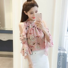 Summer Blouses Women Floral Print Shirts Tops Ladies Fashion Flare Long Sleeve Chiffon Blusas Feminina Off Shoulder Blouse цена 2017