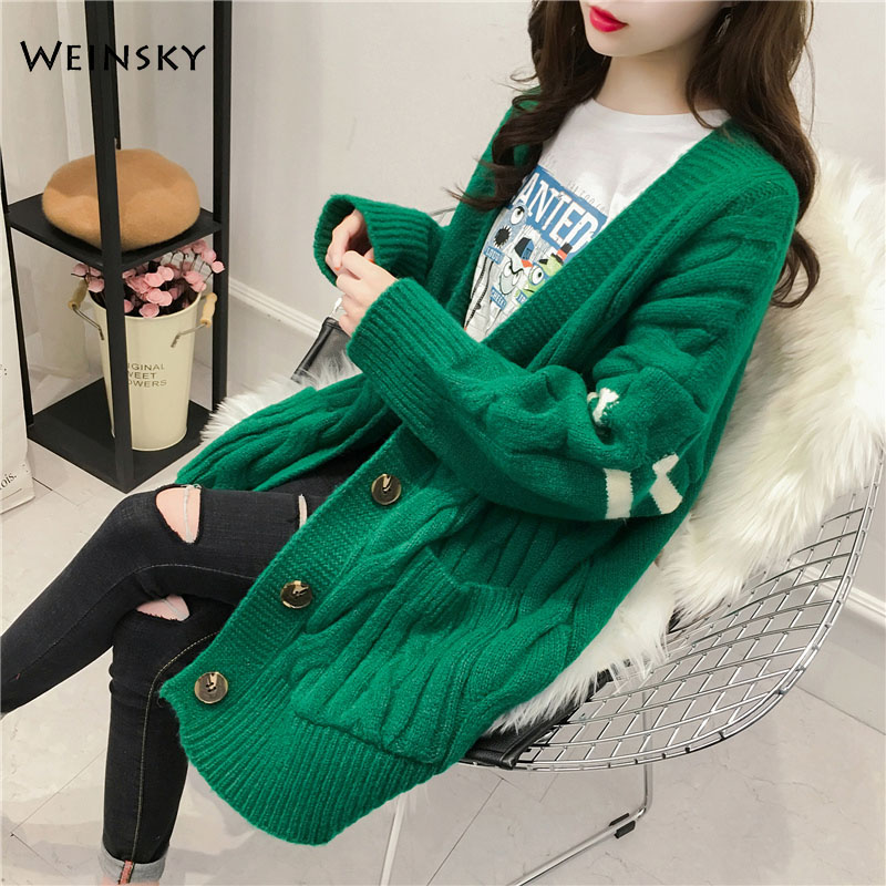 Women Knitted Long Sweater And Cardigans Full Sleeve Korean Style Lady Tops Autumn And Winter 2019 New Wool Sweater