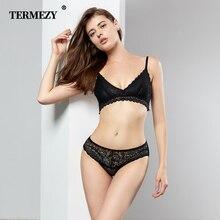 TERMEZY Sexy Lace Women Lingerie Transparent Set Womens Underwear Comfortable Bra