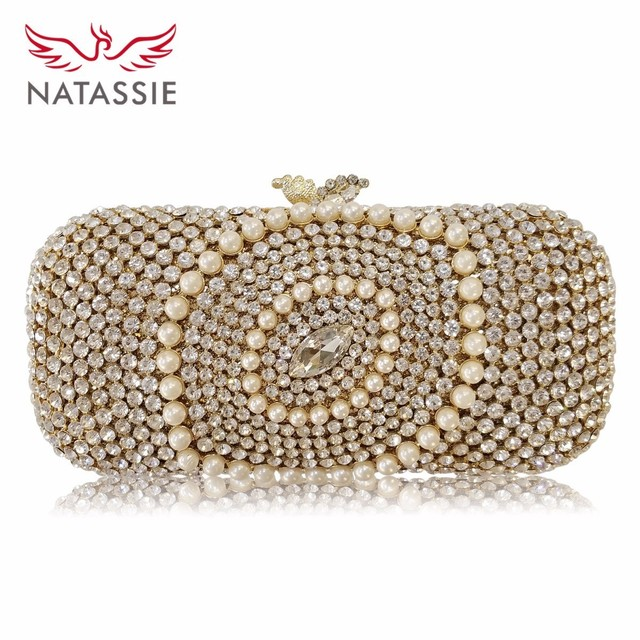 144256dda5 NATASSIE New Design Pearl Crystal Bag Women Wedding Purses Girls Sweet Date  Clutch Beautiful Party Bag