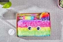 Rainbow Pencil Case Set Quality Plush School Supplies Bts Stationery Gift Set Pencilcase School Cute Pencil Box Bts School Tools