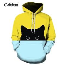 New shelves cute cat hoodie 3D sweatshirt ladies men kawaii black cat hoodie animal autumn hooded pullover funny streetwear все цены