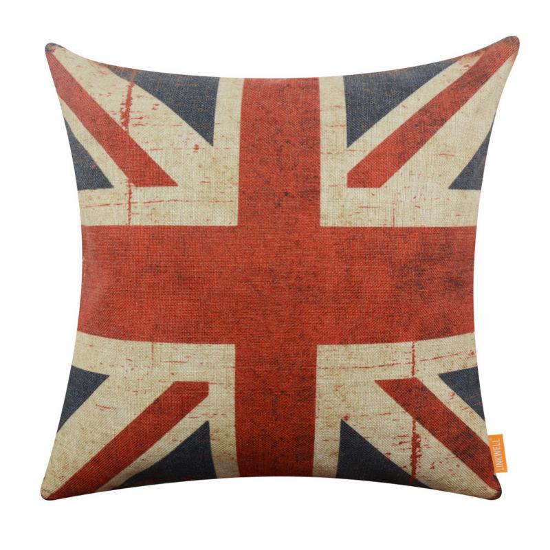 Shabby Chic Union Jack Pillow : LINKWELL 18x18 inch United Kingdom National Flag UK Union Jack Shabby Chic Retro Pillowcase ...