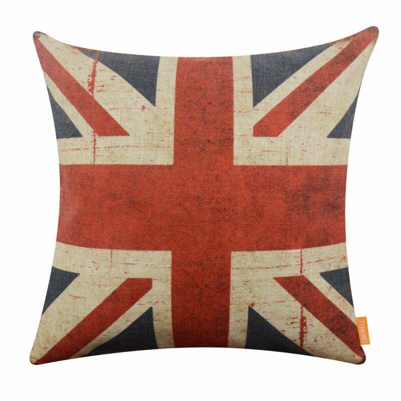 LINKWELL 18x18 inch Verenigd Koninkrijk Nationale Vlag UK Union Jack Shabby Chic Retro Kussensloop Kussensloop Jute Kussen Cover