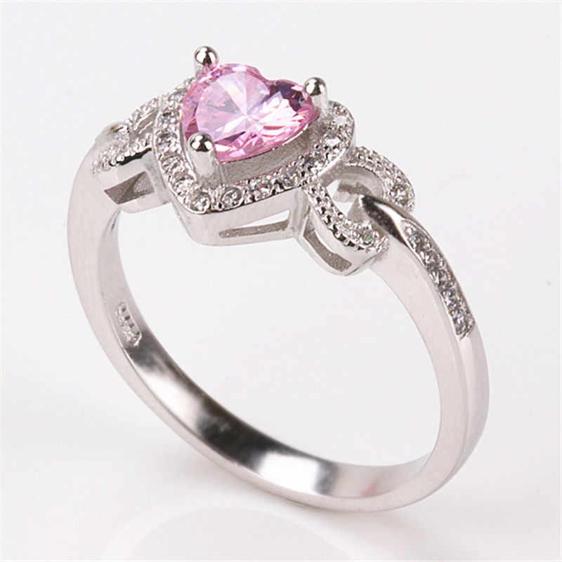 CC charmes coeur anneaux pour femmes Oro Blanco couleur nuptiale mariage Bijoux à la mode bague de fiançailles Parure Bijoux Femme CC743