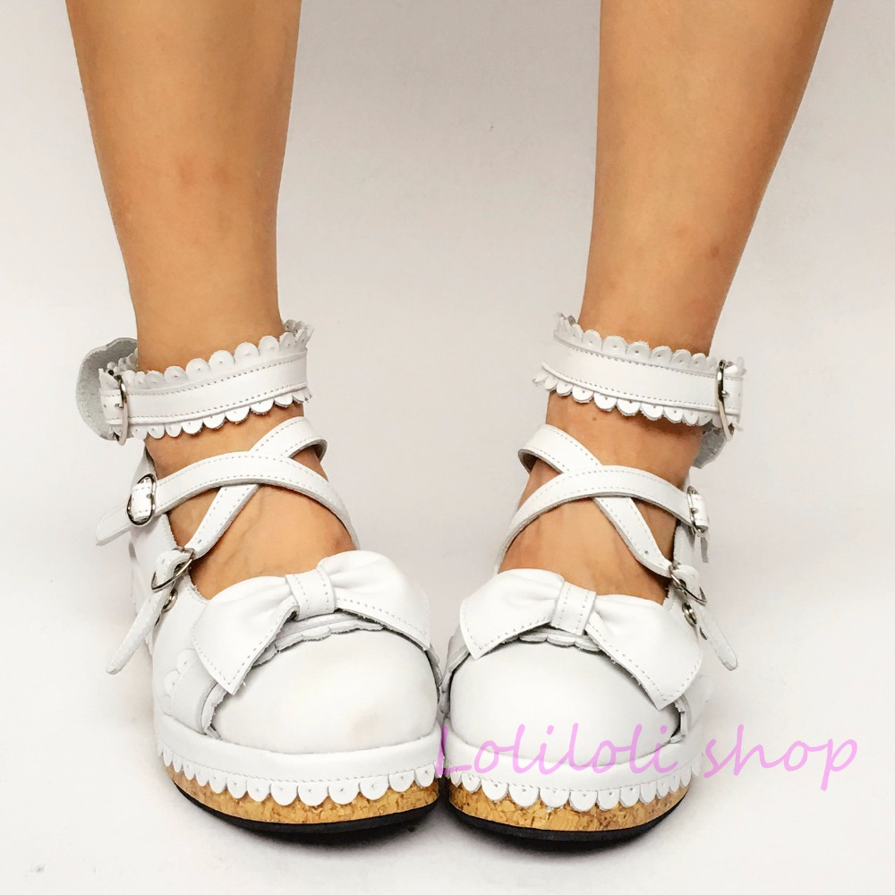Shoes Sweet-Lolita-Shoes Low-Heels Customized Japanese-Design White Princess with An8001