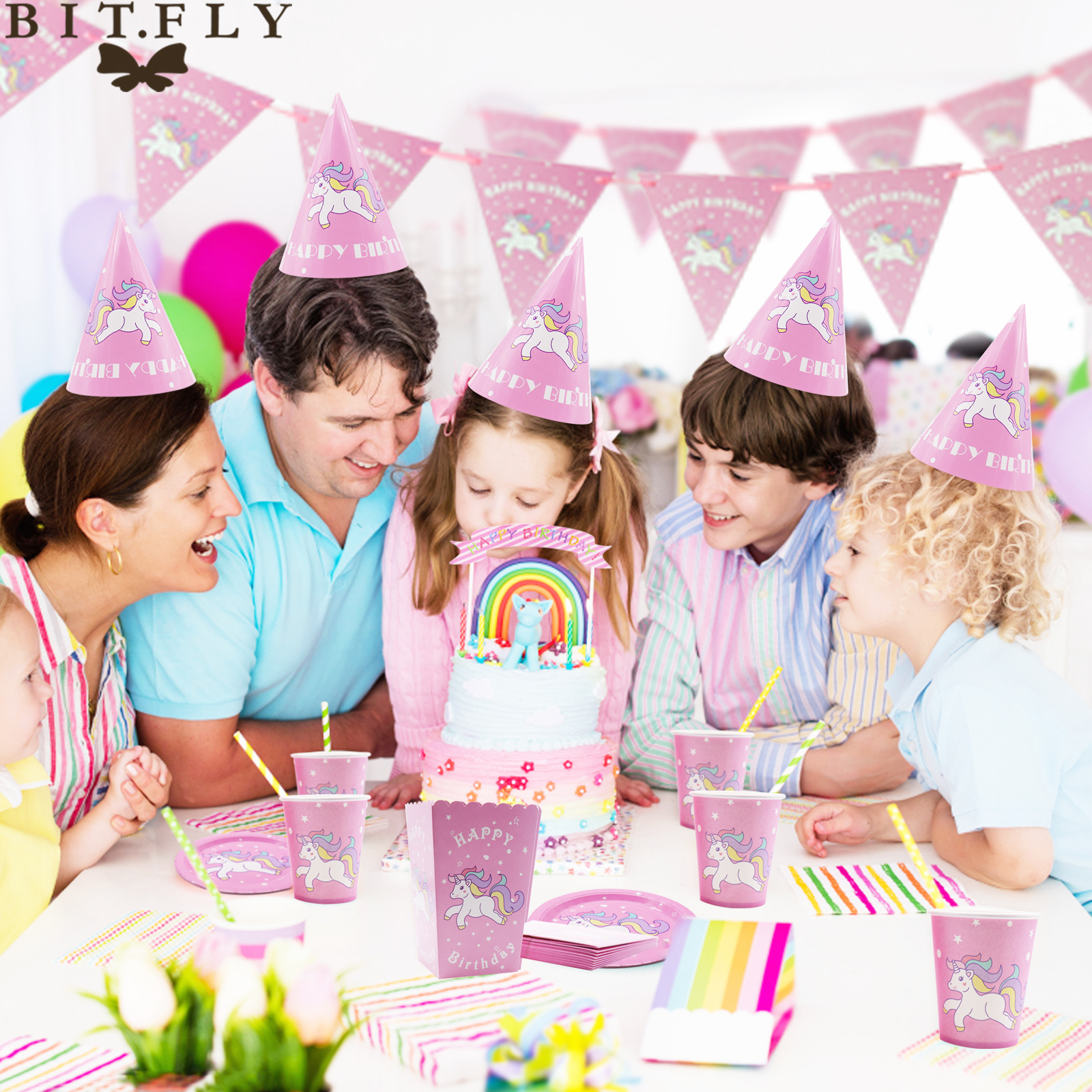 BIT.FLY Happy Birthday Disposable Unicorn Tableware Set Kids Birthday Party Home Party Unicorn Paper Cup Banners Party DIY Decor